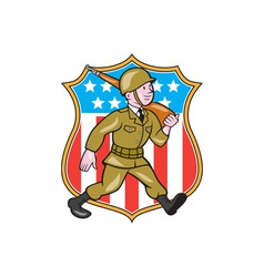 World war two soldier american cartoon shield vector