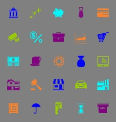 Banking and financial color icons on gray vector