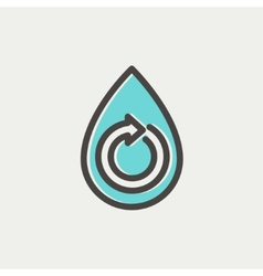 Water drop with spiral arrow thin line icon vector