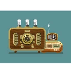 Vintage radios in flat style vector