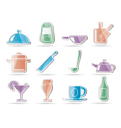 Restaurant cafe food and drink icons vector