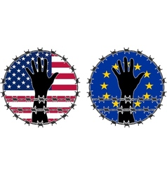 Violation of human rights in usa and eu vector