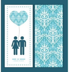 Light blue swirls damask couple in love vector