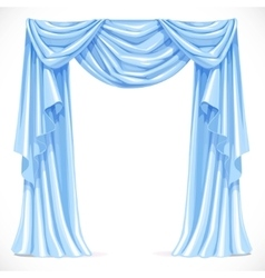 Blue curtain draped with pelmet isolated on a vector