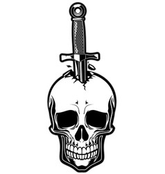 Skull stabbed by the dagger vector
