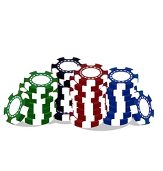 Colorful poker chips vector