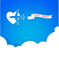Airplane with announcement banner and blue sky vector