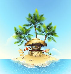 Tropical bungalow bar on island in ocean vector