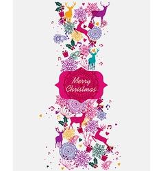 Merry christmas multicolors postal card vector