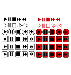 60 play pause stop icons vector