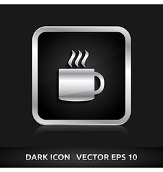 Cafe tea break icon silver metal vector