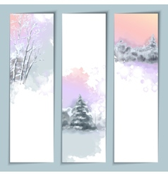 Watercolor winter banners vector