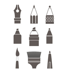Paint and writing tools silhouettes collection iso vector
