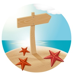 Guidepost at the beach with the sea stars vector