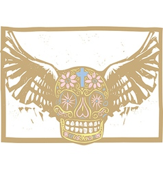 Color mexican winged skull vector