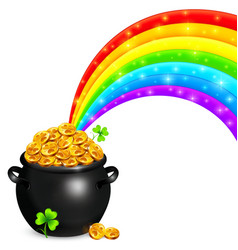 Pot of gold with magic rainbow vector