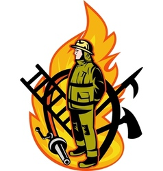 Fireman firefighter axe ladder spear hook hose vector