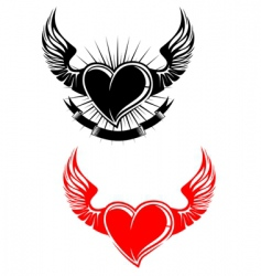 Heart with wings tattoo vector