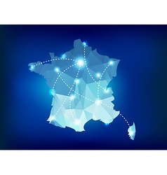 France country map polygonal with spot lights vector