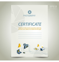 Photography certificate template design camera vector