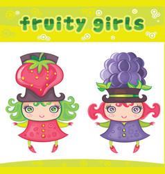 Fruity girls series 6 strawberry blackberry vector