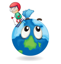 A boy playing skating on earth globe vector
