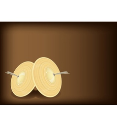 A beautiful cymbal on dark brown background vector