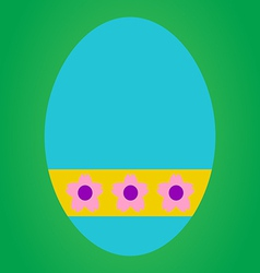 Blue easter egg with pink flower in yellow tag on vector