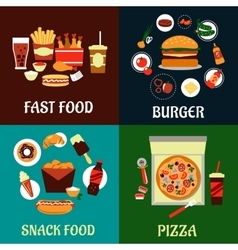Fast food and takeaway flat icons vector