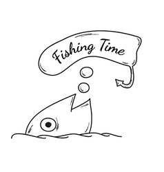 Fish and fishing time vector