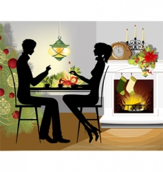 Christmas dinner vector