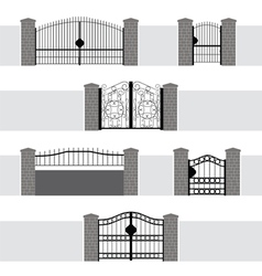 Entrance gate door fence garden vector