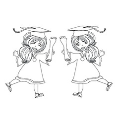 Girl smiling celebrating graduation day holding vector