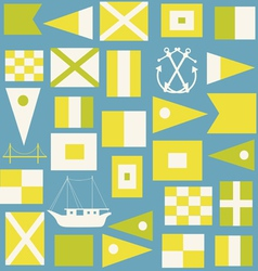 Maritime signal flags seamless pattern vector