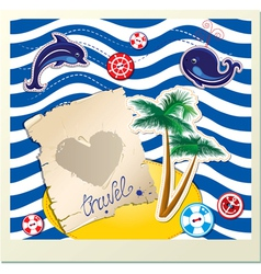 Funny card with dolphin whale island with palms vector