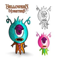 Halloween monsters one eye creature eps10 file vector