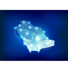 Saudi arabia country map polygonal with spot vector