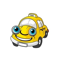 Cartoon yellow taxi car character vector