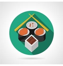 Sushi set green round icon vector