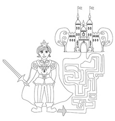 Funny maze game prince looking castle vector