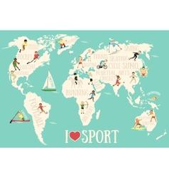 Cartoon map with sportsmen vector