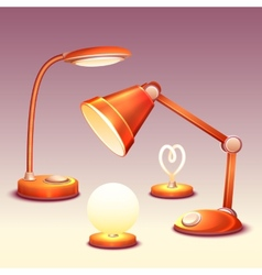 Set of realistic office reading-lamps vector