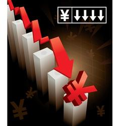 Japanese yen currency crash vector