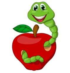Cartoon worm with red apple vector