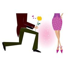 Man gives woman rose vector