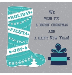 Winter boots with christmas ornaments vector