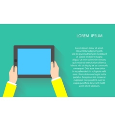 Hands holding touch screen tablet pc with blanc vector