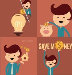 Piggy bank concept money savings set vector
