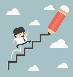 Climbing ladder of success vector
