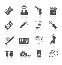 Detective icons set black vector